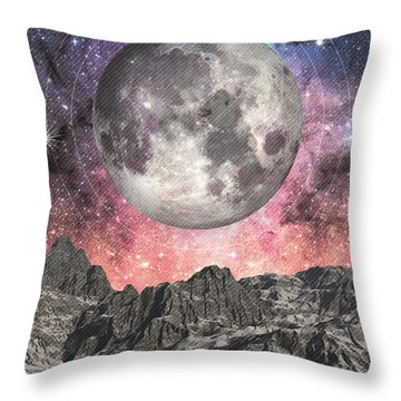 Throw Pillow featuring the digital art Moon Over Mountain Lake by Phil Perkins