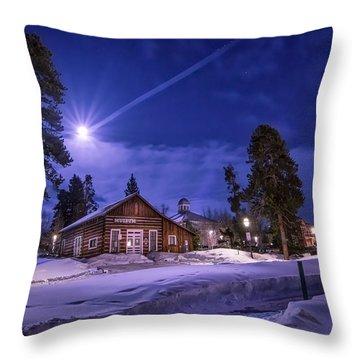 Moon Over Museum Throw Pillow