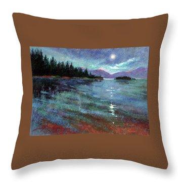 Moon Over Pend Orielle Throw Pillow