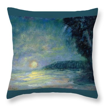 Moon Over Pt Dume Throw Pillow