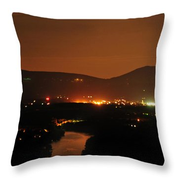 Throw Pillow featuring the photograph Moon Over Shenandoah by Lara Ellis