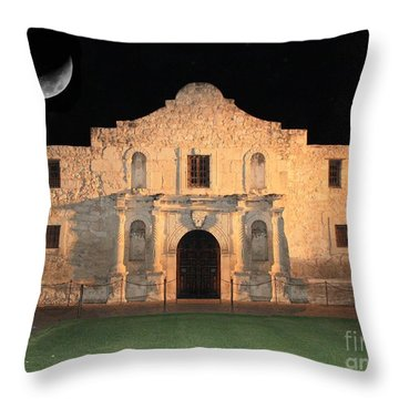 Moon Over The Alamo Throw Pillow