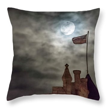 Moon Over The Bank Throw Pillow by Rob Graham