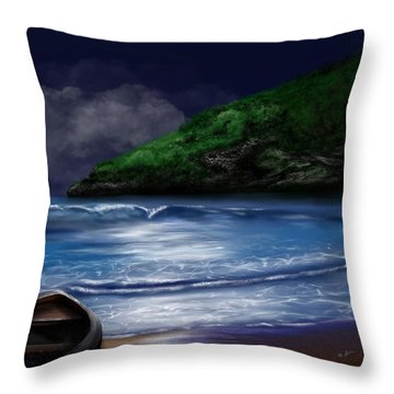 Throw Pillow featuring the digital art Moon Over The Cove by Mark Taylor