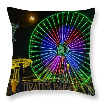 Moon Over The Ferris Wheel Throw Pillow