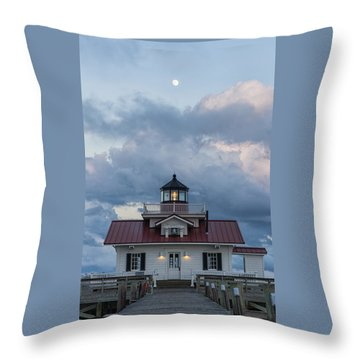Throw Pillow featuring the photograph Moon Over The Light by Gregg Southard