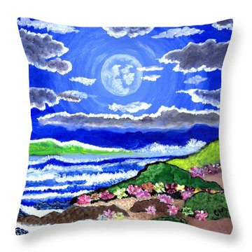 Moon Over The Tropics  Throw Pillow by Connie Valasco