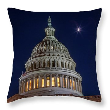 Moon Over The Washington Capitol Building Throw Pillow