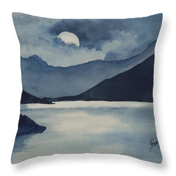Throw Pillow featuring the painting Moon Over The Water by Sam Sidders