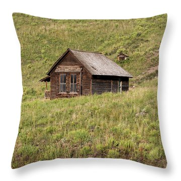 Moon Over Tiny House Throw Pillow