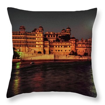 Moon Over Udaipur Throw Pillow by Steve Harrington