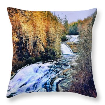 Moon Over Triple Falls Throw Pillow