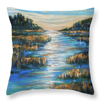 Moon Over Waterway Throw Pillow