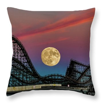 Moon Over Wildwood Nj Throw Pillow by Nick Zelinsky