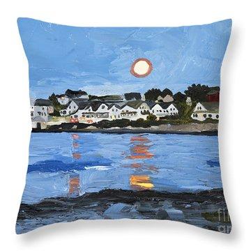 Moon Over York Beach Throw Pillow