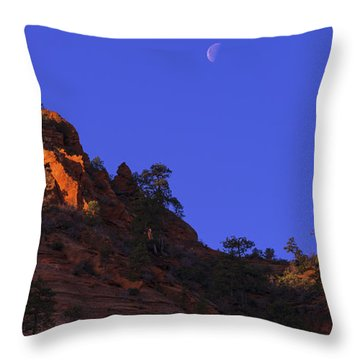 Moon Over Zion Throw Pillow