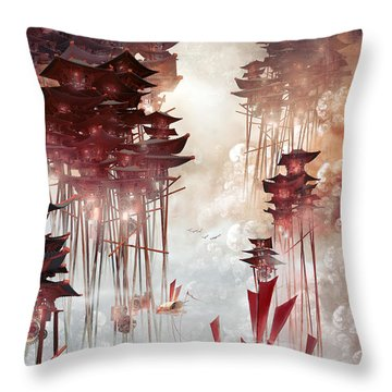 Throw Pillow featuring the digital art Moon Palace by Te Hu