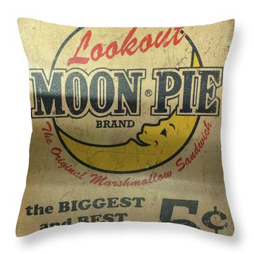 Moon Pie Antique Sign Throw Pillow
