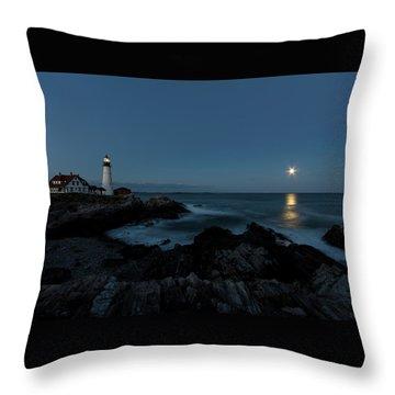 Moon Rise At Portland Headlight Throw Pillow