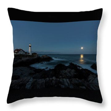 Moon Rise At Portland Headlight Throw Pillow