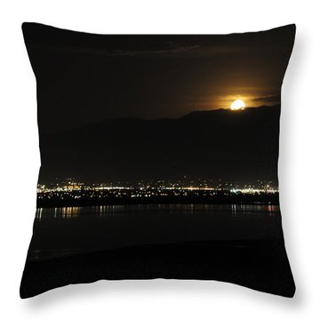 Throw Pillow featuring the photograph Moon Rise At Washatch by Norman Hall