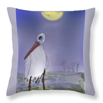 Moon Rise Becomes A Stork Throw Pillow