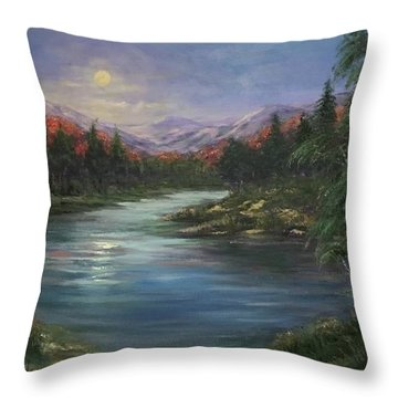 Throw Pillow featuring the painting Moon Rise On The Lake by Laila Awad Jamaleldin