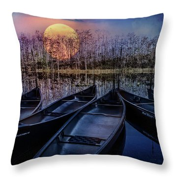 Throw Pillow featuring the photograph Moon Rise On The River by Debra and Dave Vanderlaan