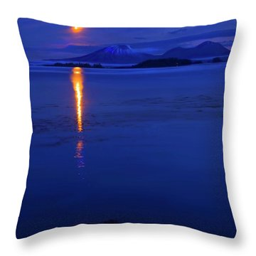 Moon Rise Over Mt. Edgecumbe Throw Pillow by Mike  Dawson