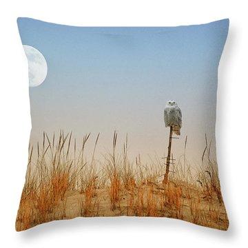 Moon Rise Snowy Owl Throw Pillow