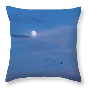 Moon Rises Geese Fly Throw Pillow