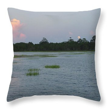 Moon Rising Over The Inlet Throw Pillow by Suzanne Gaff