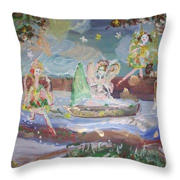 Moon River Fairies Throw Pillow by Judith Desrosiers
