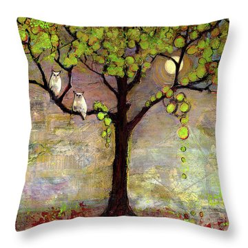 Moon River Tree Owls Art Throw Pillow