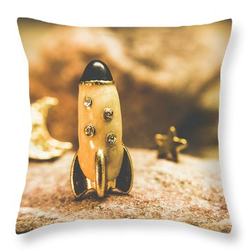 Moon Rocket At Space Station On The Dark Side Throw Pillow