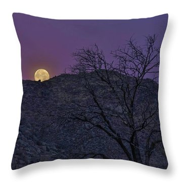 Moon Set At Sunrise Throw Pillow