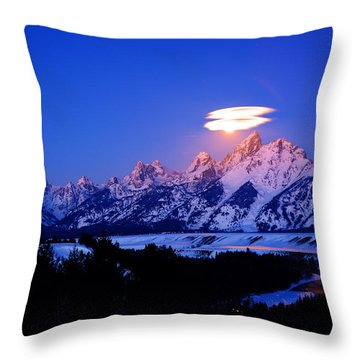 Moon Sets At The Snake River Overlook In The Tetons Throw Pillow by Raymond Salani III