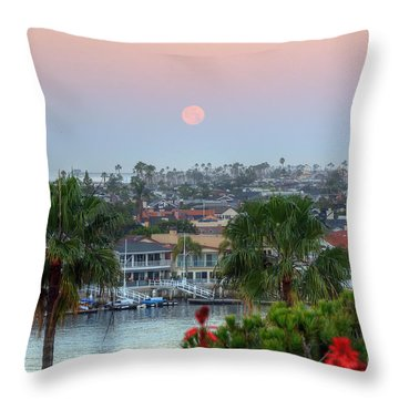 Full Moon Setting In Corona Del Mar Throw Pillow