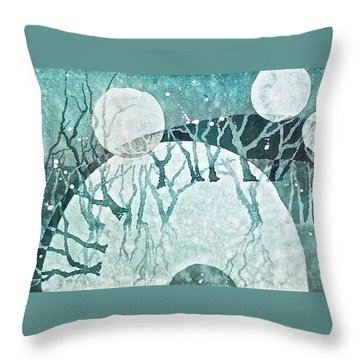 Throw Pillow featuring the painting Moon Shadows by Carolyn Rosenberger