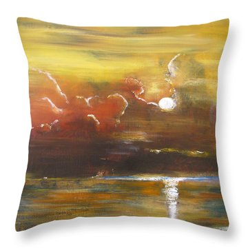 Throw Pillow featuring the painting Moon Shadows by Gary Smith