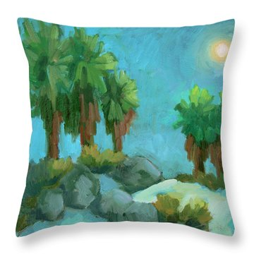 Throw Pillow featuring the painting Moon Shadows Indian Canyon by Diane McClary