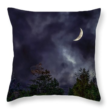 Moon Shine Over The Okanagan Throw Pillow