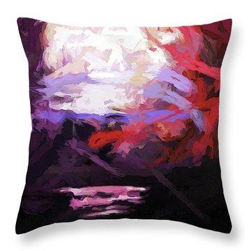 Moon Sky Pink Sea Throw Pillow