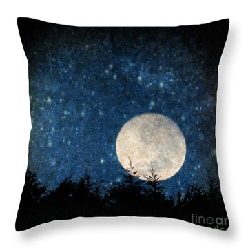 Moon, Tree And Stars Throw Pillow