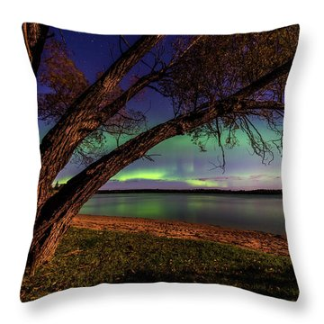 Moon Vs Aurora Throw Pillow