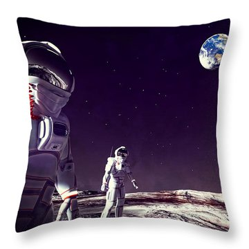 Throw Pillow featuring the digital art Moon Walk by Methune Hively