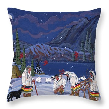 Throw Pillow featuring the painting Moon When The Rivers Dream by Chholing Taha