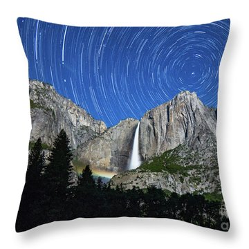 Moonbow And Startrails  Throw Pillow