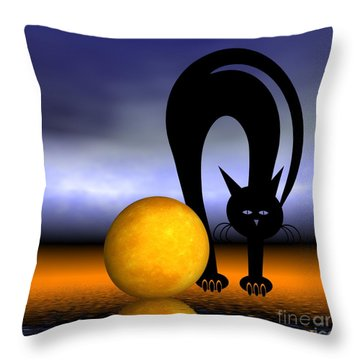 Mooncat's Play With The Fullmoon Throw Pillow