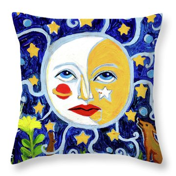Throw Pillow featuring the painting Moonface With Wolf And Stars by Genevieve Esson